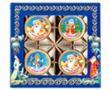 024г шоколадная фигурка ДЕД МОРОЗ И СНЕГУРОЧКА (Набор монет) (х 30шт) (натуральный шоколад)