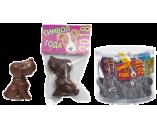 012г шоколадная фигурка СОБАЧКА - СИМВОЛ ГОДА (8 туб х 20шт) натуральный шоколад