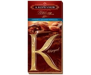 Горький шоколад Коркунов с миндалем 100г